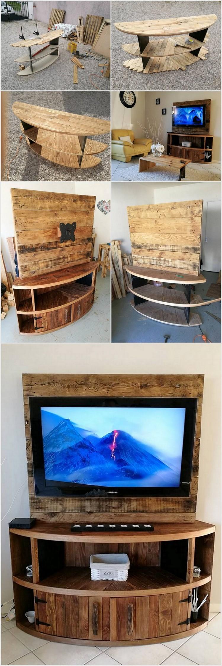 DIY Wood Pallet Entertainment Center – TV Stand