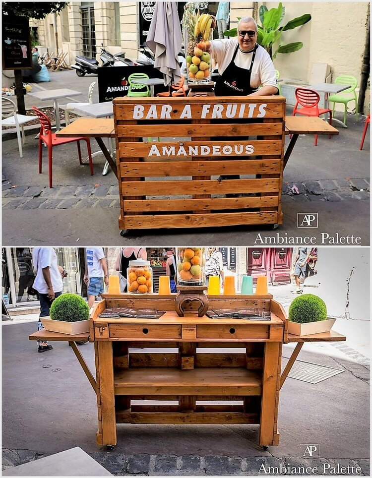 Fruits bar made out of wood pallets pallet wood projects for Projects made out of wood