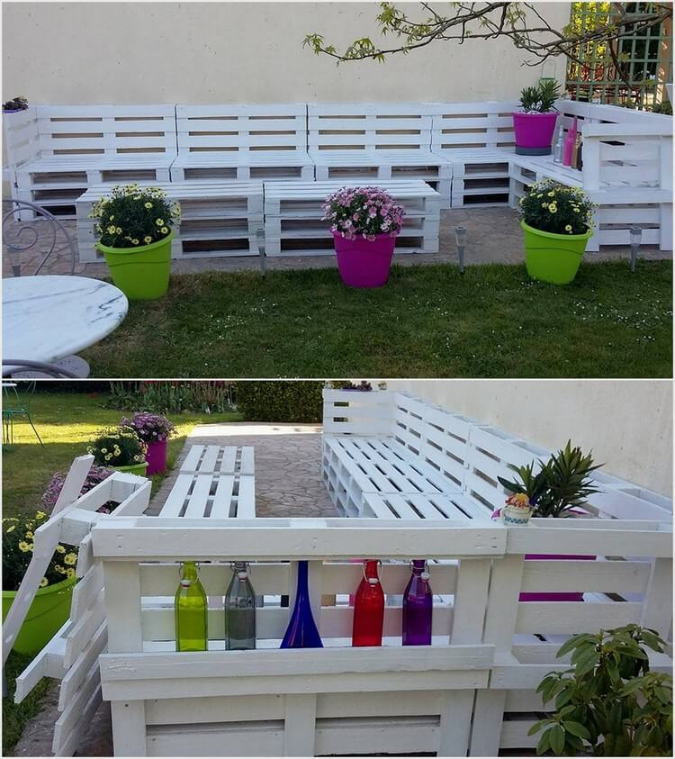 Giant Garden Couch with Back Bottles Storage