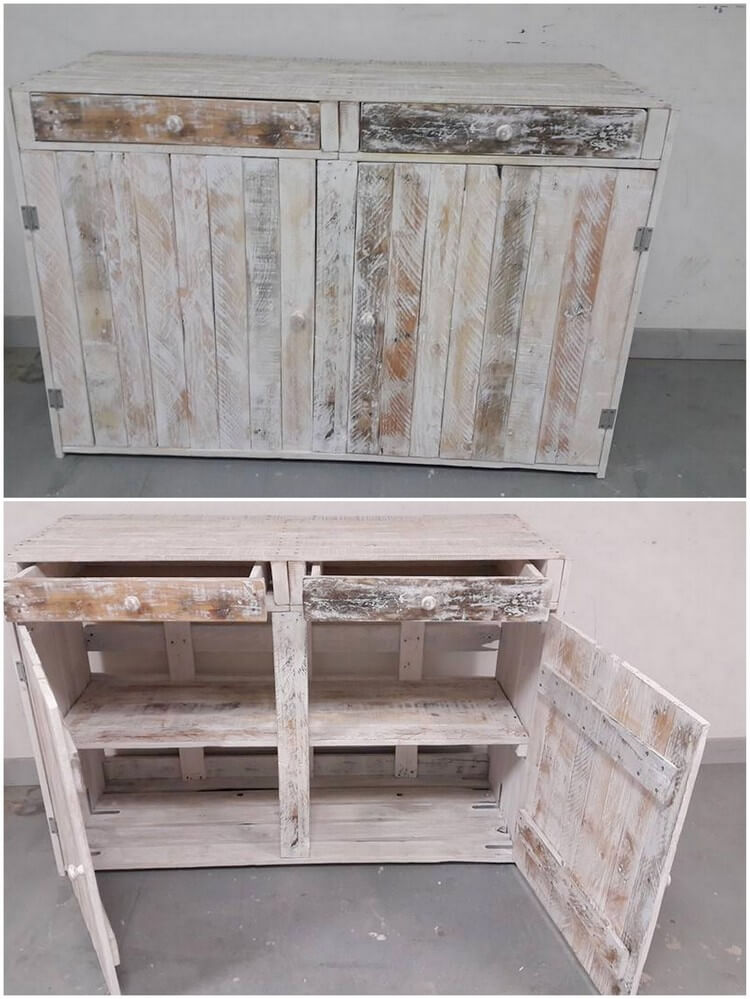 40 easiest ways of recycling used shipping pallets for Best way to line kitchen cabinets