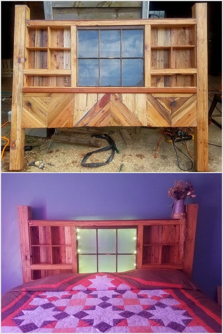 King Size Wooden Pallet Headboard