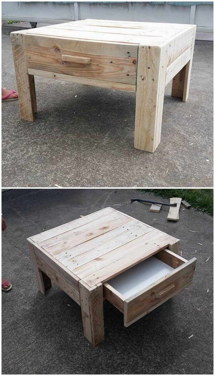 Mini Wood Pallet Table with Drawer