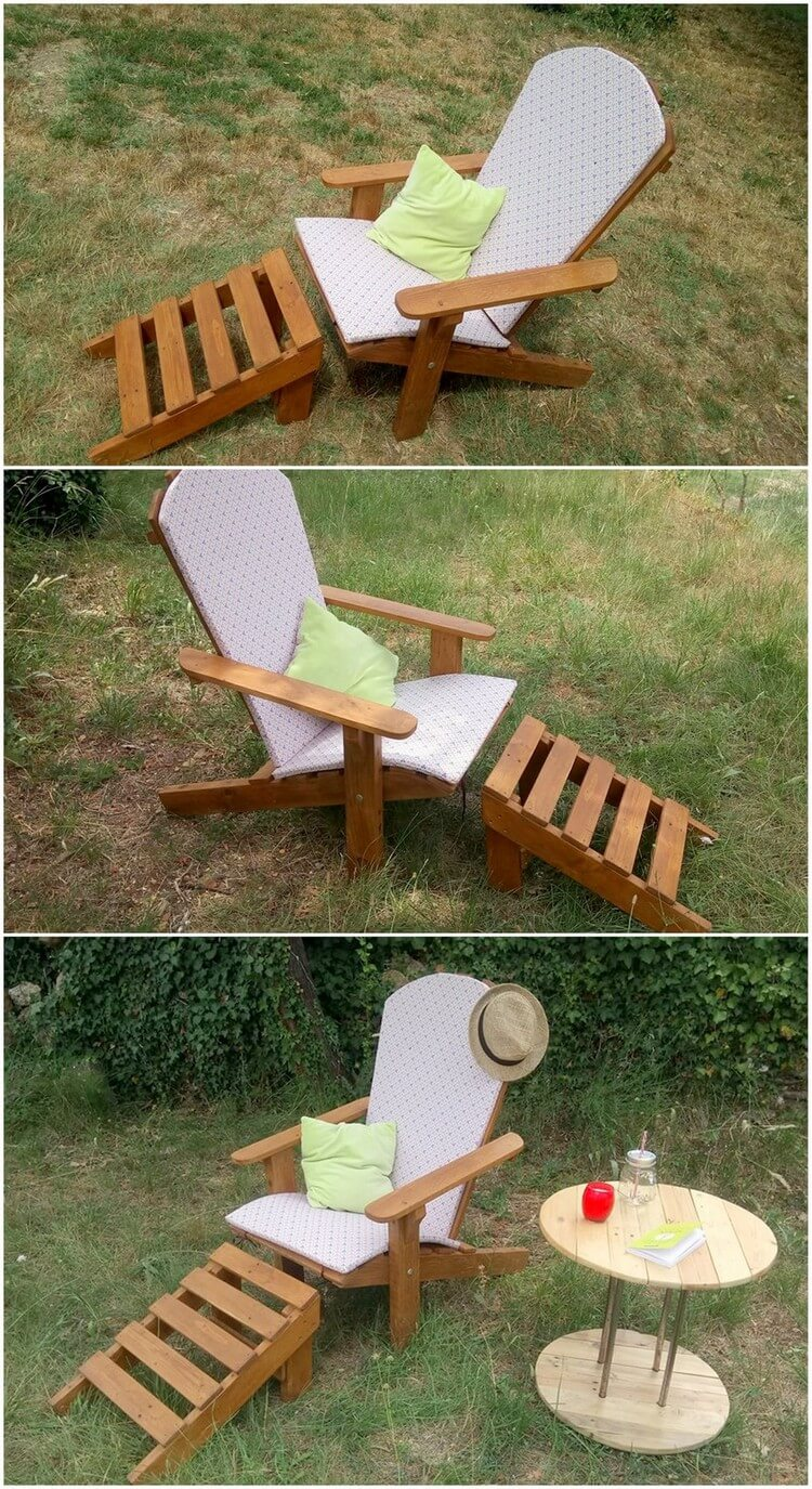 Pallet Adirondack Chair and Ottoman