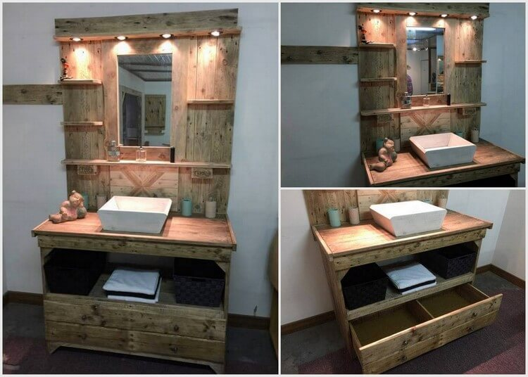 80 easy wooden pallet ideas for this summer pallet wood for Pallet bathroom vanity