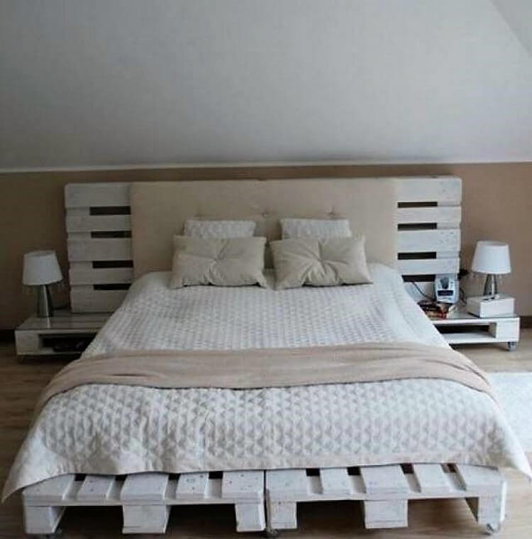 Pallet Bed with Headboard and Side Tables