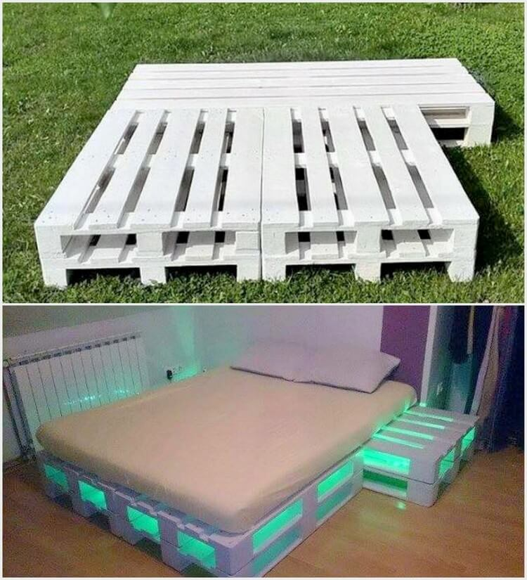 25 diy recycled wooden pallet projects try out at home for Pallet bed frame with lights pinterest