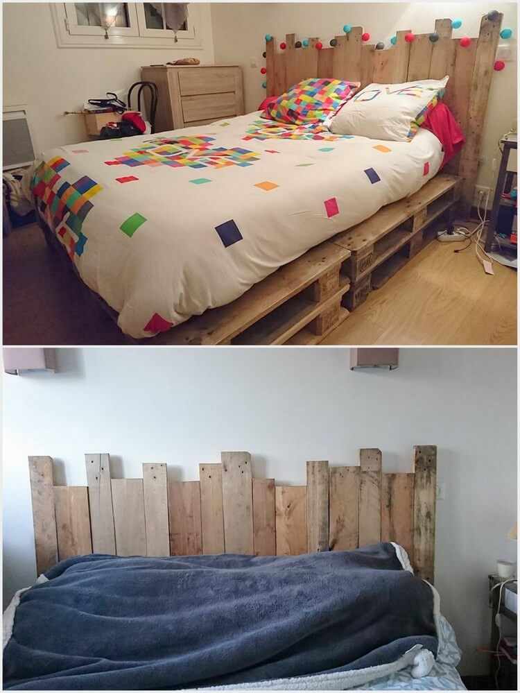 Pallet Bed with Unique Headboard