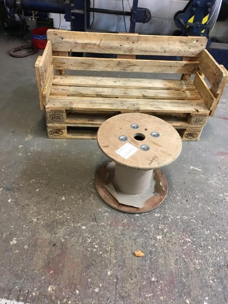 Pallet Bench and Cable Reel Table