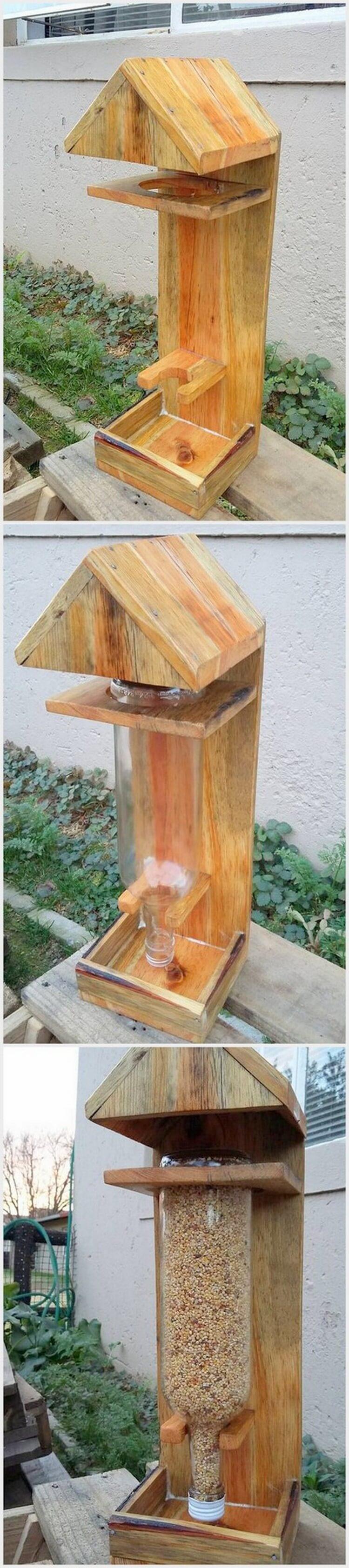 Pallet Bird Feeder Stand