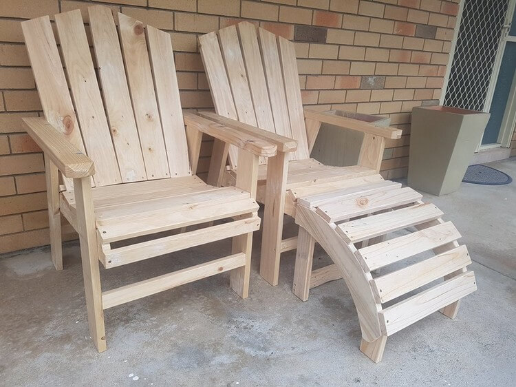 Pallet Chairs and Ottoman