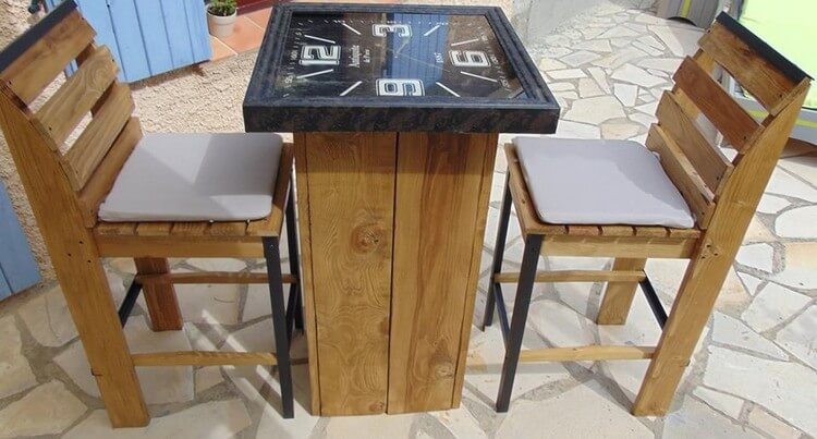 Pallet Chairs and Recycled Clock Table Top