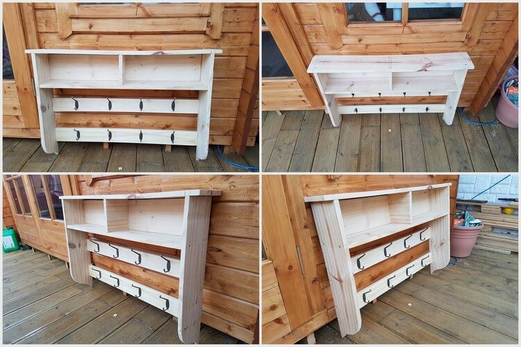Pallet Coat Rack with Shelves