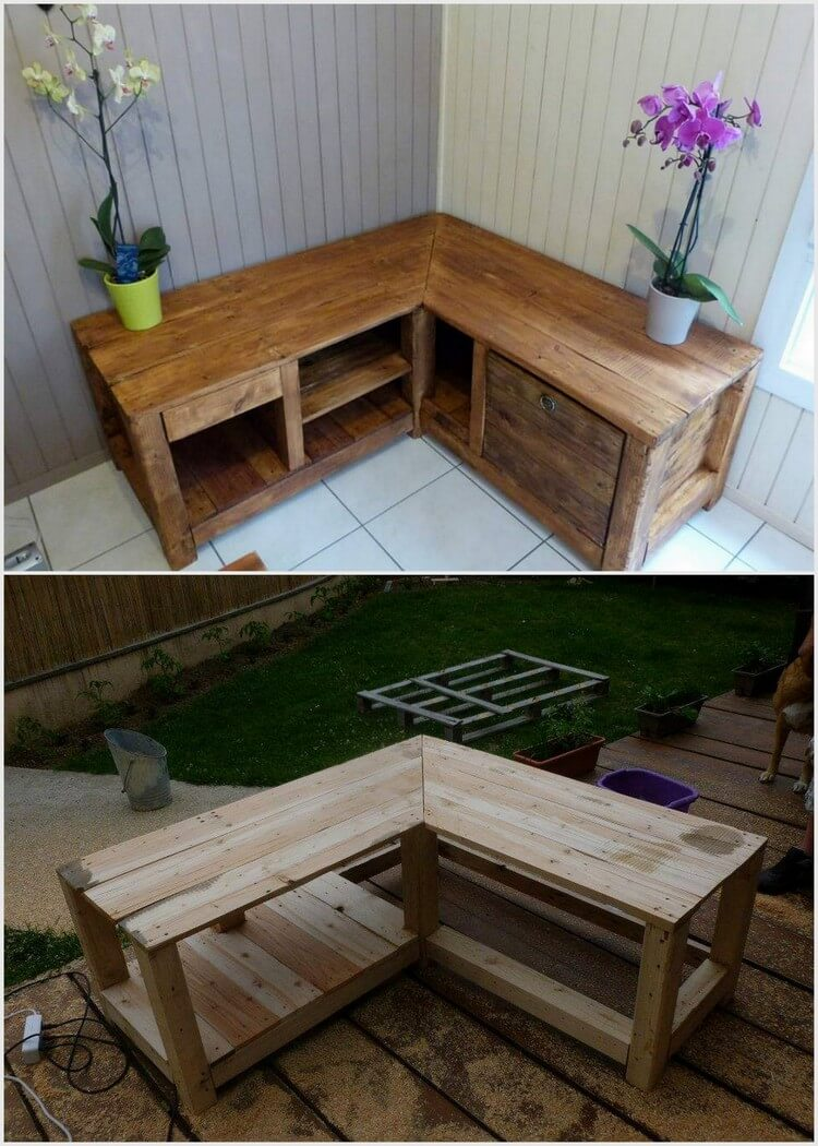 Pallet Corner Table or Cabinet