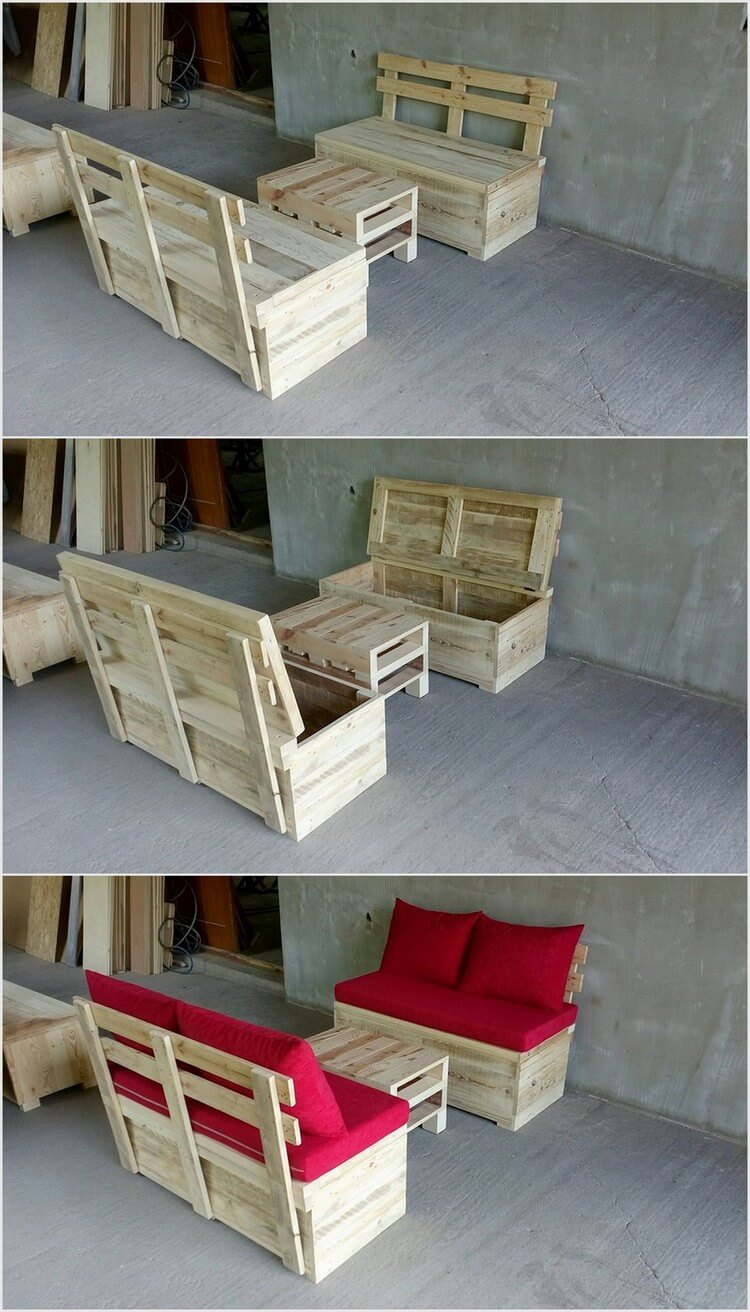 Pallet Couch with Storage and Table