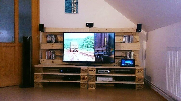 Pallet Entertainment Center Media Table