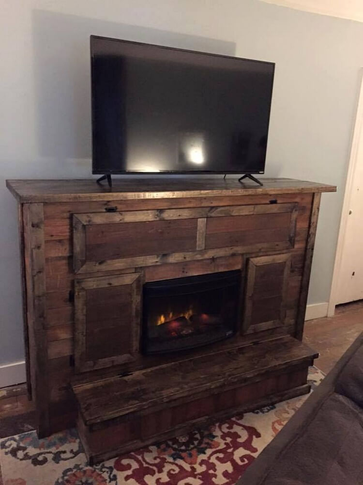Pallet Fireplace TV Stand