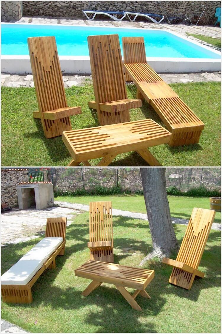 Pallet Garden Sun Loungers and Table