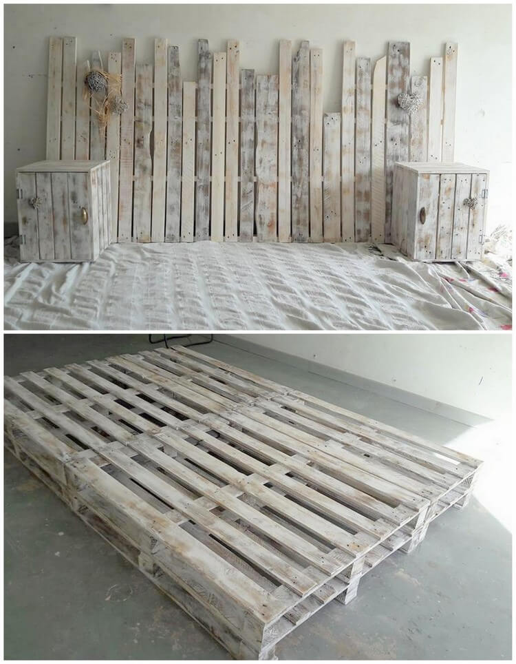 40 easiest ways of recycling used shipping pallets for Pallet bed frame with side tables