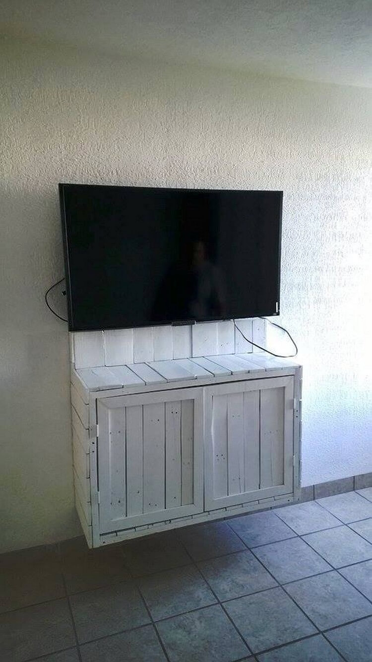 Pallet LED Stand with Media Cabinet