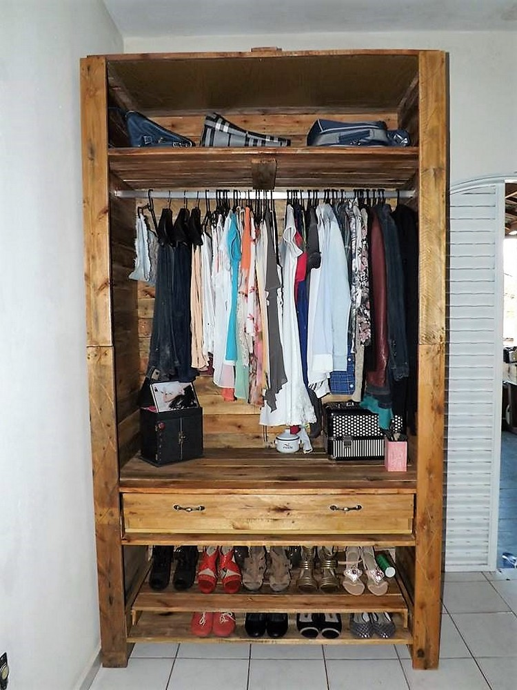 Pallet Made Wardrobe with Shoe Storage