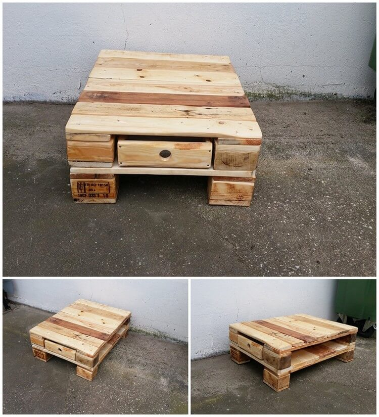 Pallet Mini Table with Drawer