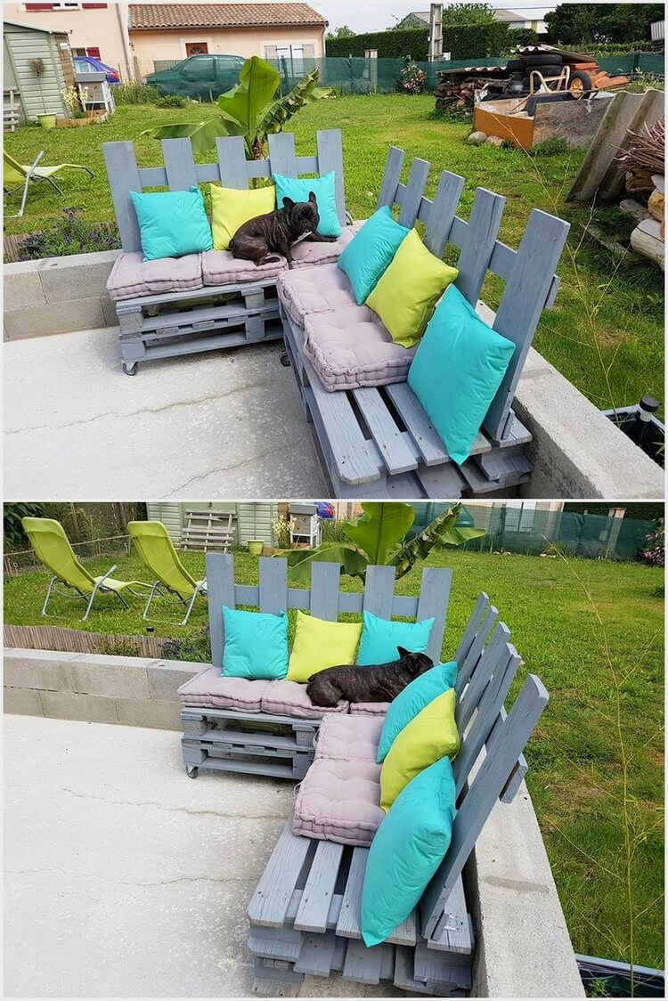 Pallet Patio Corner Couch