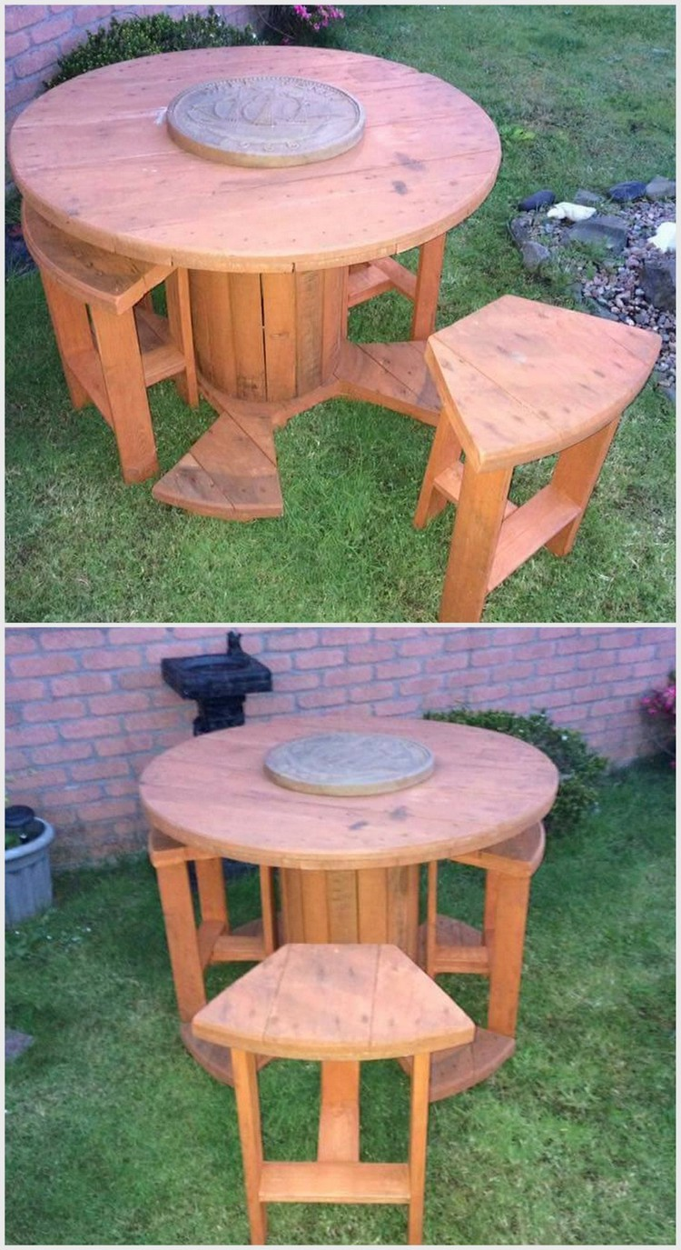 Pallet Round Table and Seats