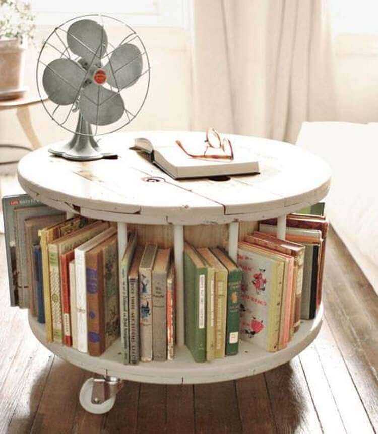 Pallet Round Table with Books Storage