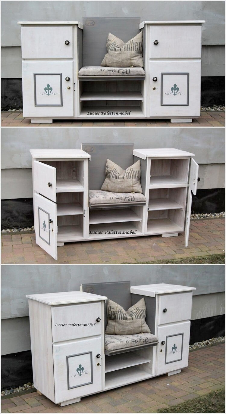 Pallet Seat with Cabinets