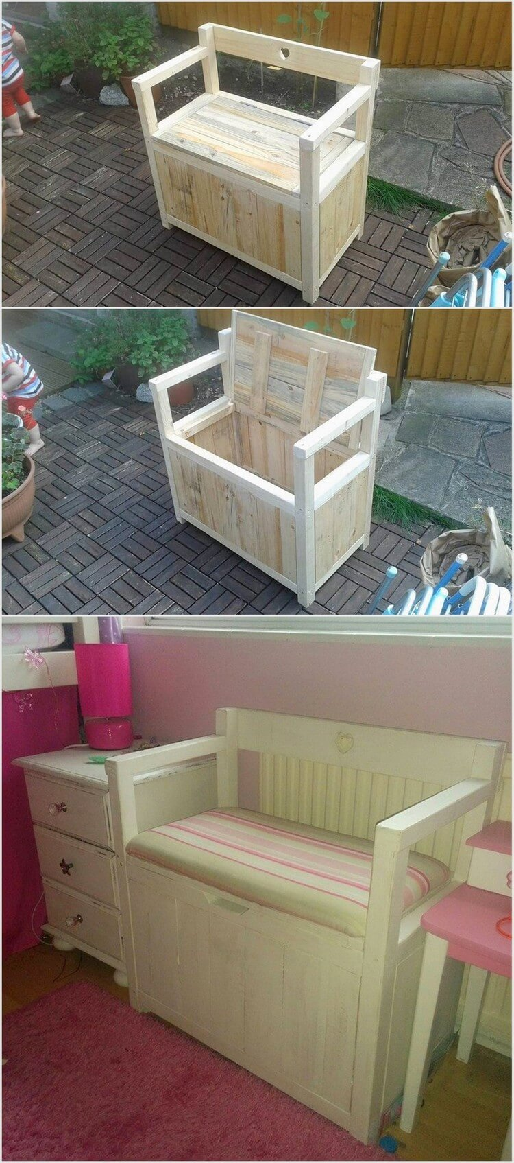 Pallet Seat with Toy Storage Box