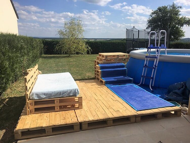 Pallet Swimming Pool Deck with Furniture - Pallet Wood ...