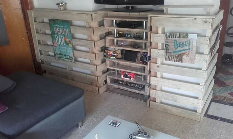 Pallet TV Stand Wall Shelves