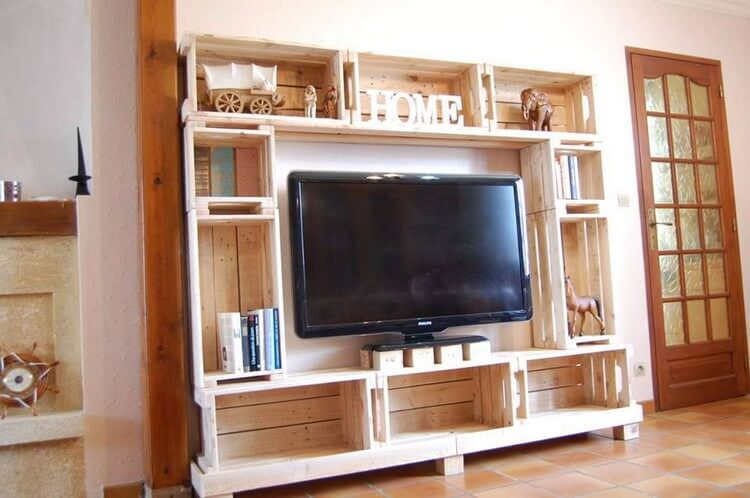 Pallet TV Stand with Shelves