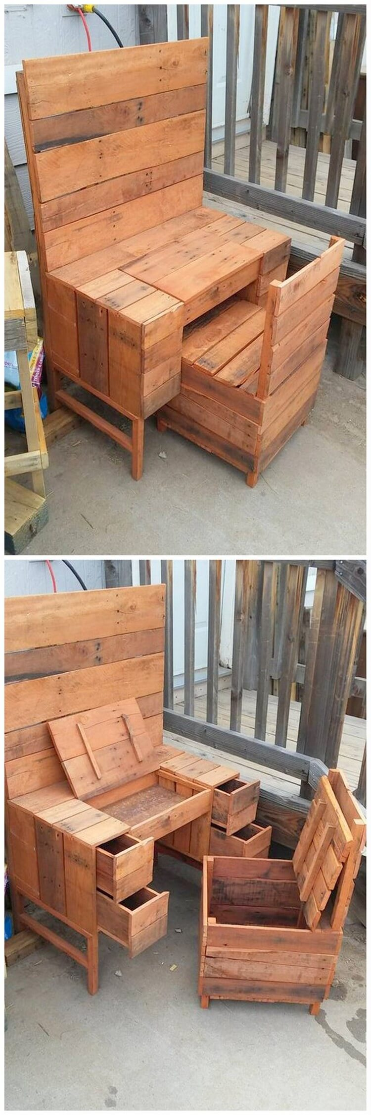 Pallet Table Desk and Chair with Storage