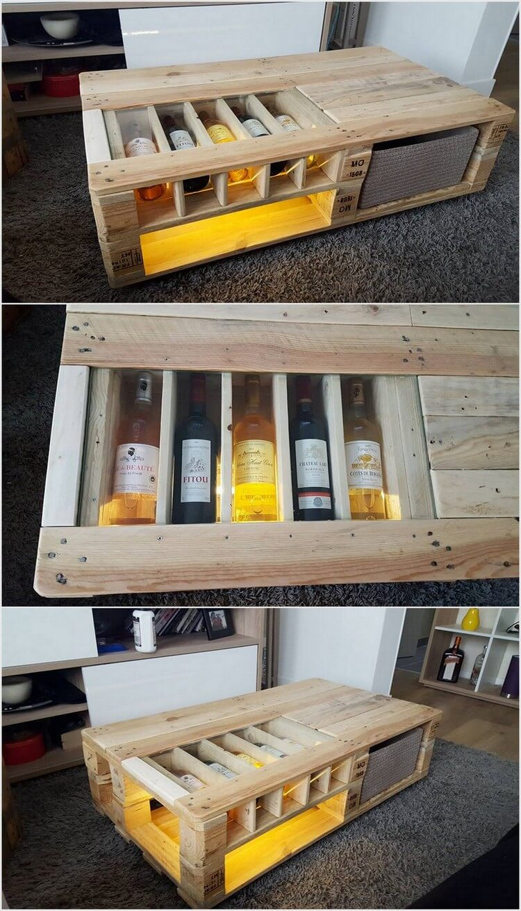 Pallet Table with Bottles Storage