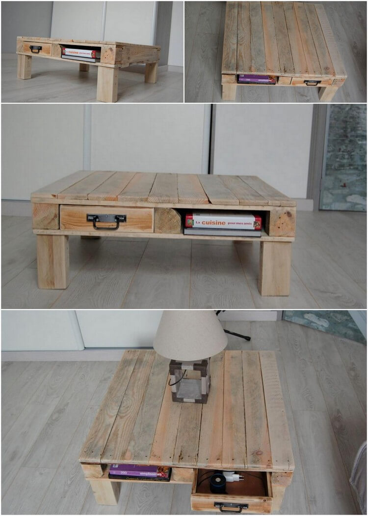 Pallet Table with Drawer and Storage