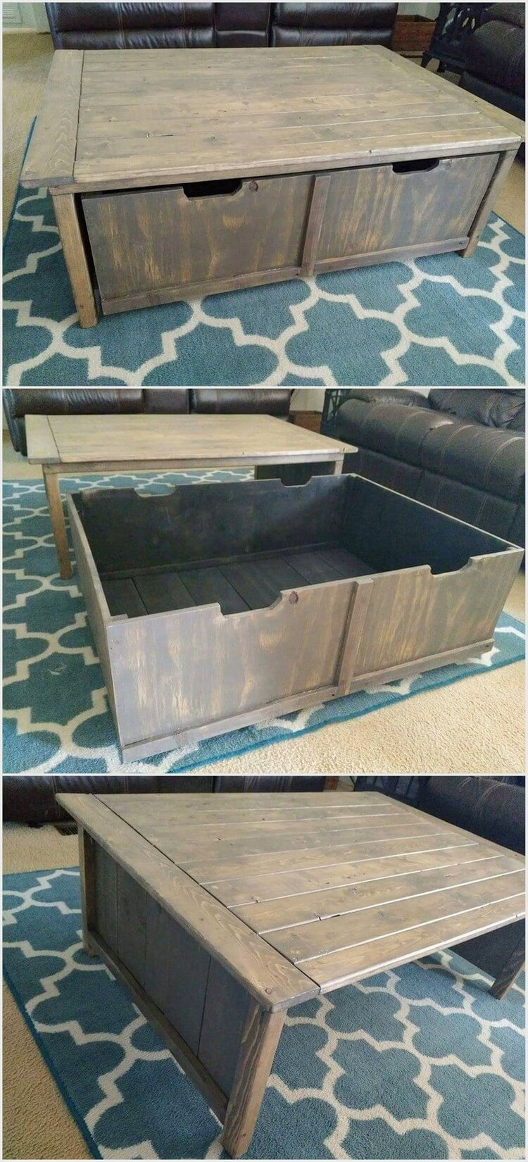 Pallet Table with Storage Box