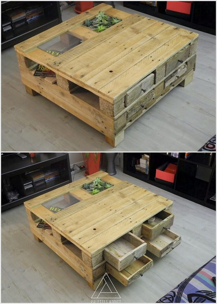 Pallet Table with Storage and Herb Planter