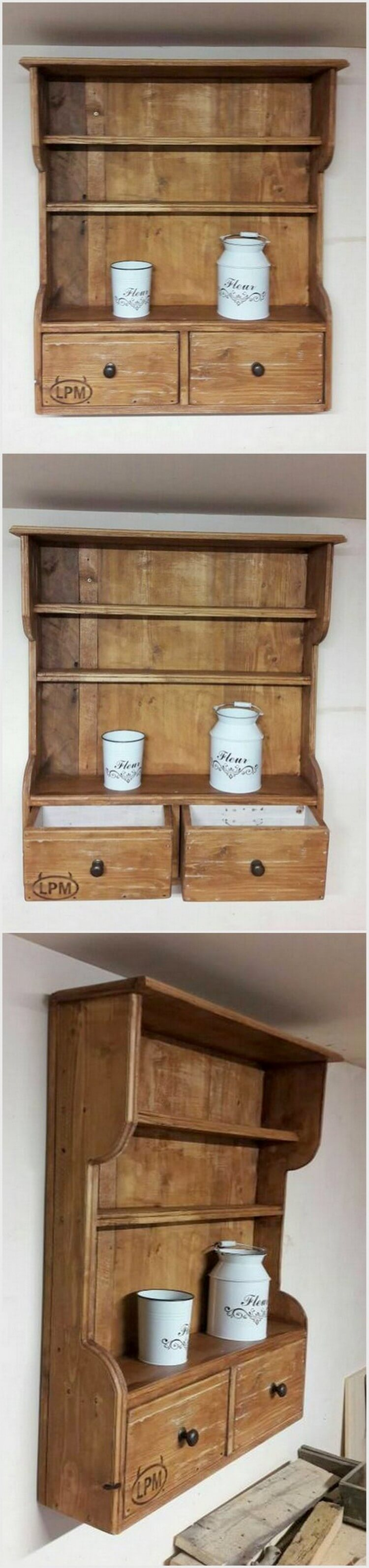 Pallet Wall Shelf with Drawers
