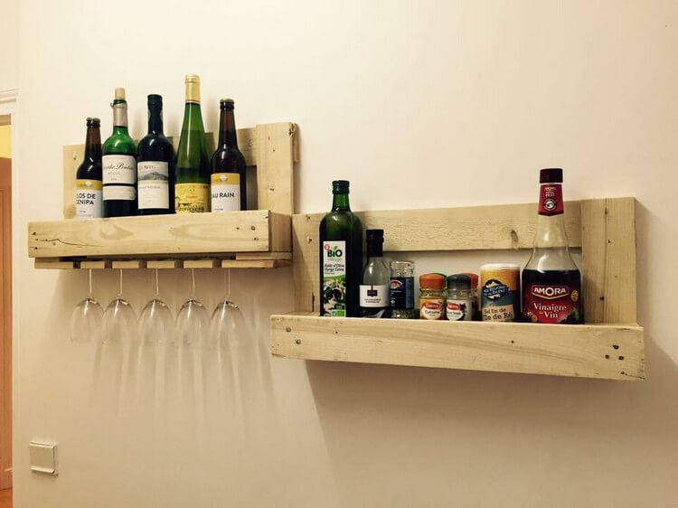 Pallet Wine Rack and Spice Rack