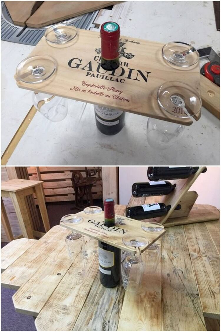 Pallet Wine and Glass Holder