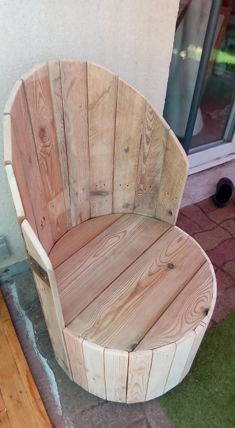 Diy Pallets And Cable Spool Made Armchair Pallet Wood