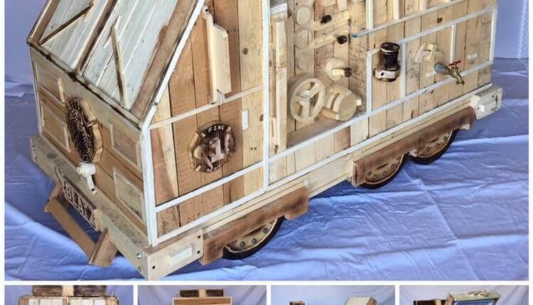 Pallets Made Fire Truck Cooler