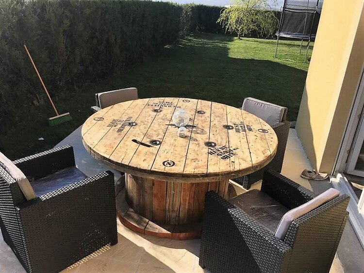 Pallets and Cable Reel Round Table