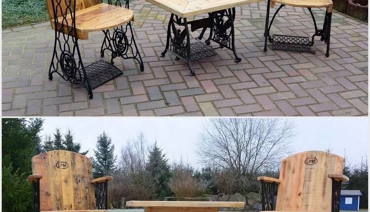 Reclaimed Wood Pallets Chairs and Table