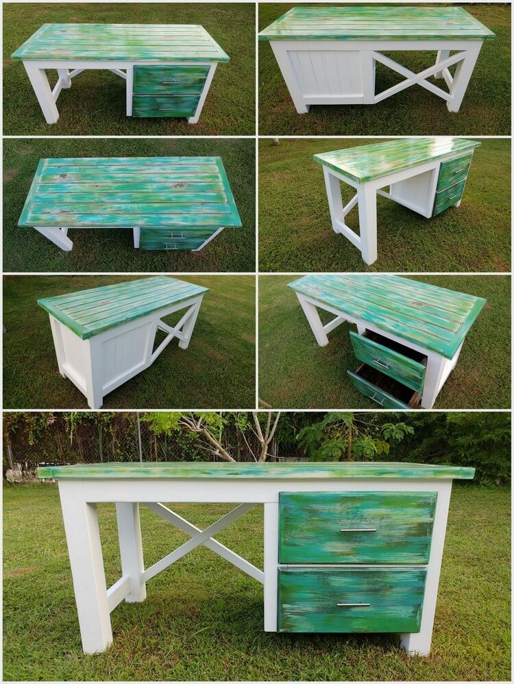 Recycled Pallets Made Aurora Borealis Themed Desk