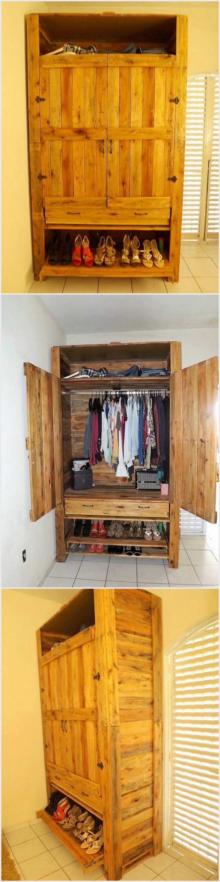 Recycled Pallets Made Wardrobe with Shoe Storage