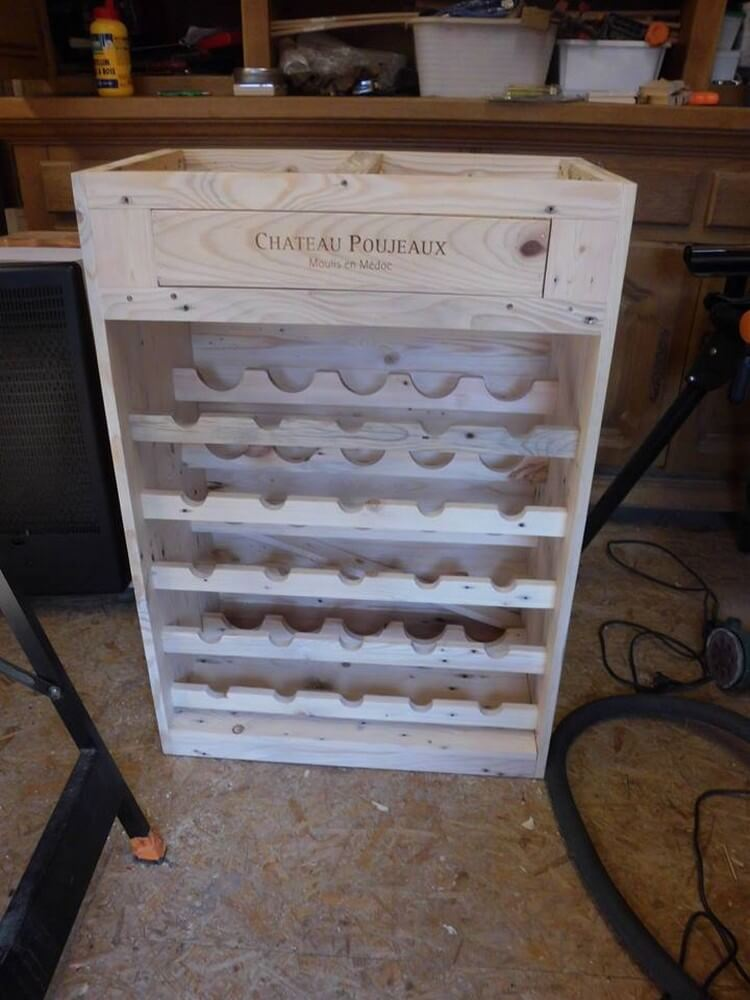 Diy recycled pallet wine rack with drawer pallet wood for Pallet drawers diy