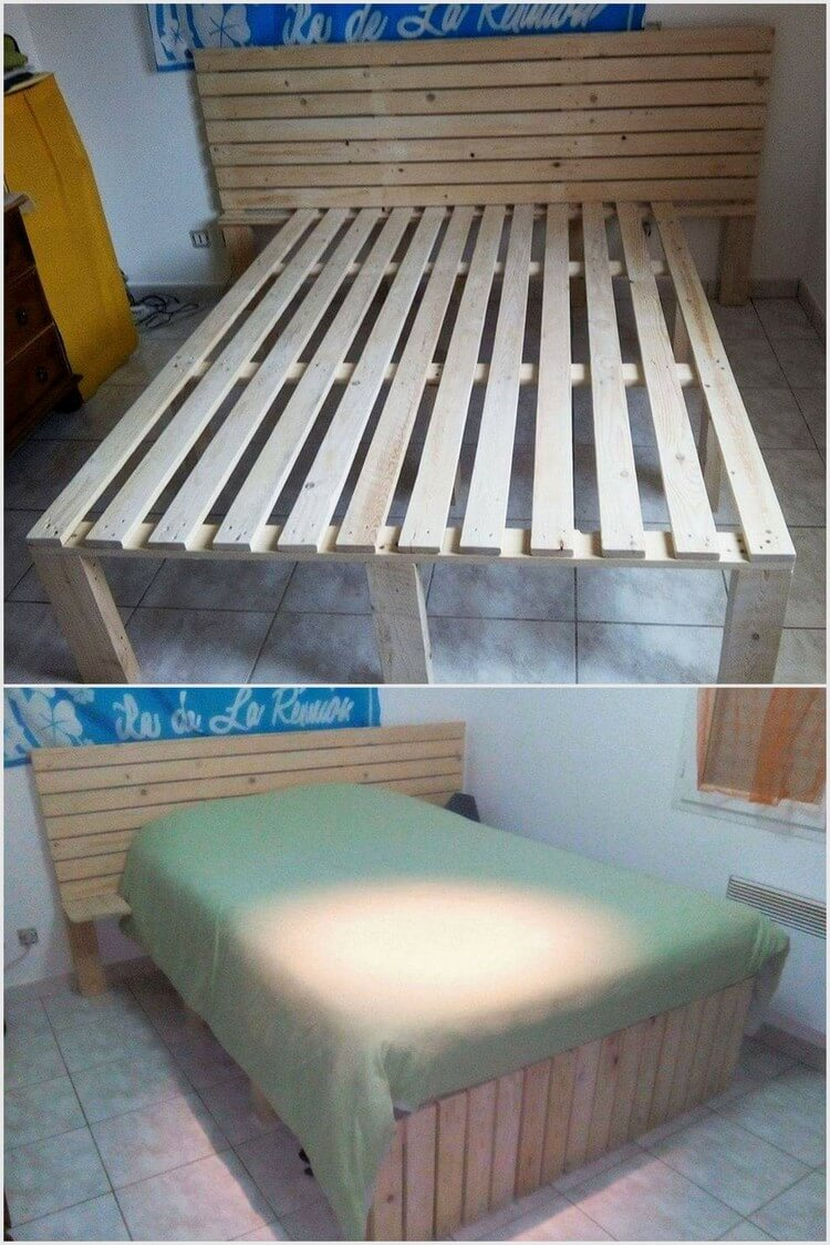 Recycled Wood Pallet Bed Frame with Headboard
