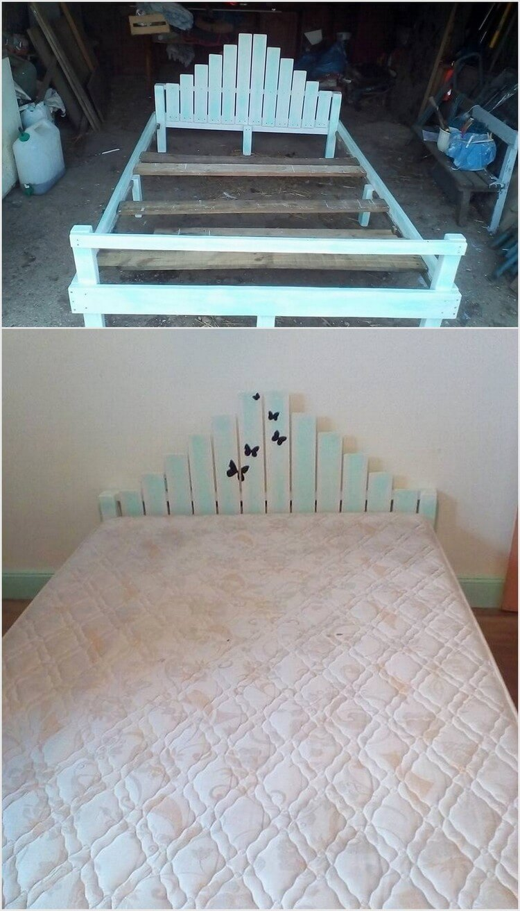 80 easy wooden pallet ideas for this summer pallet wood for Recycled pallet bed frame